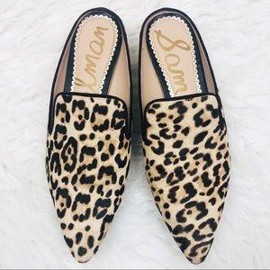 Sam Edelman   Augustine Leopard Gold Mules Heels